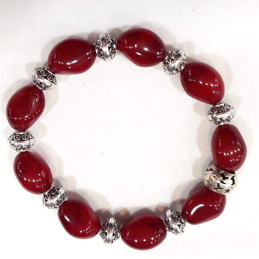 Bracelet rouge pâte de verre