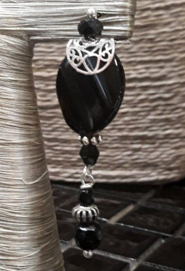 Boucles d'oreilles en Onyx et cristal