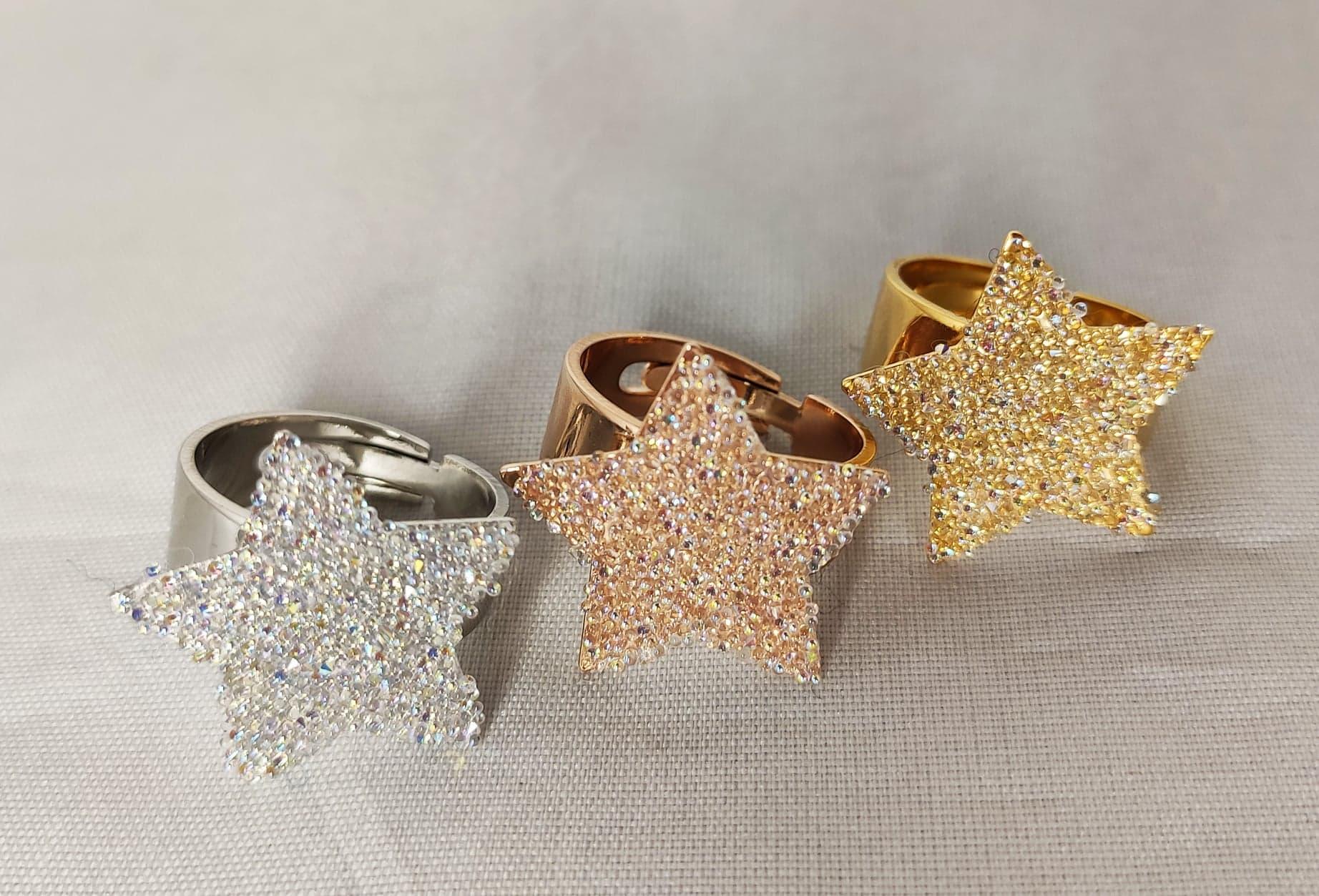 Bague étoiles «paillettes de cristal»