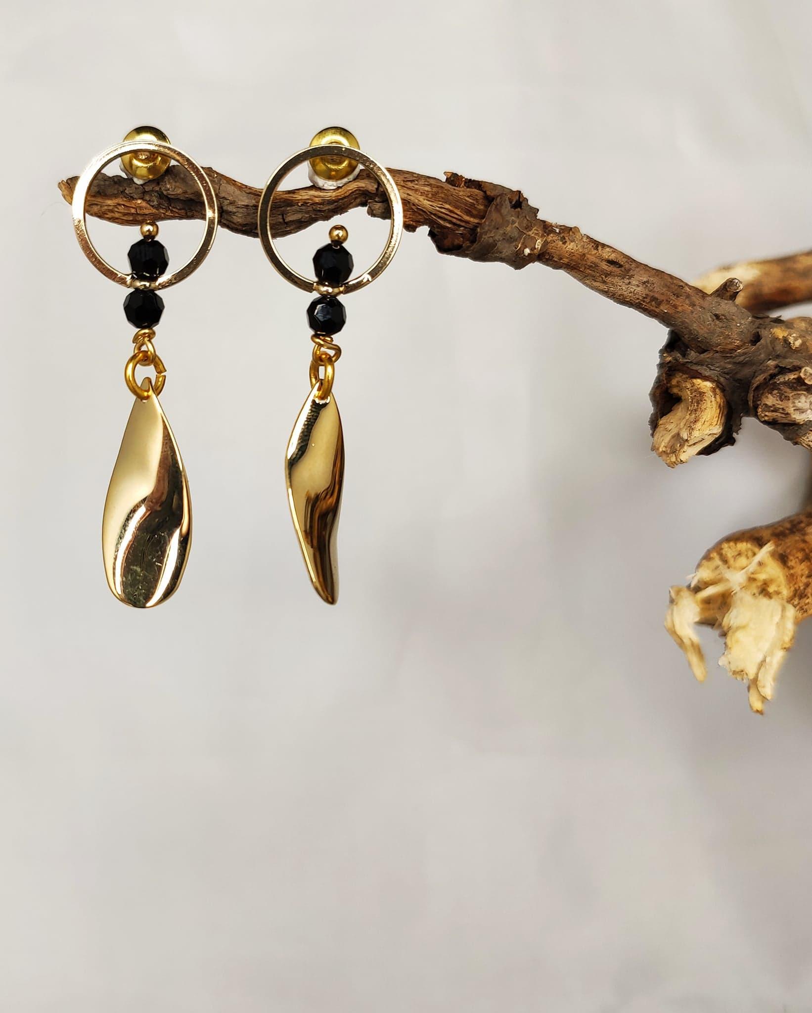 Boucles d'oreilles «feuilles biseautées»
