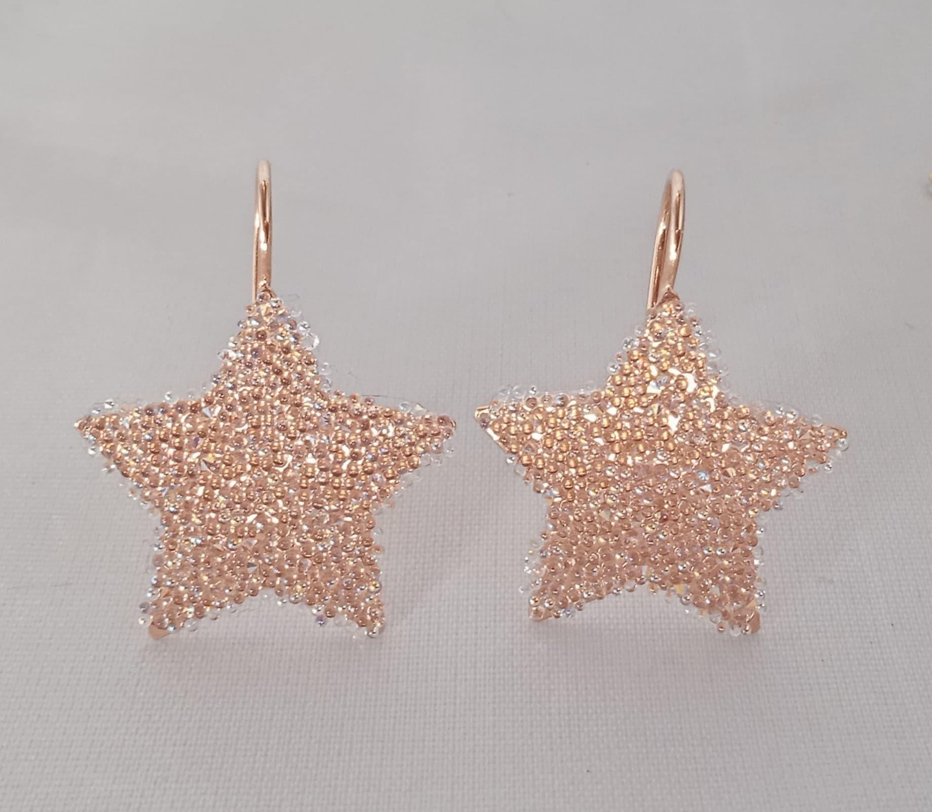 Dormeuses étoiles «paillettes de cristal»